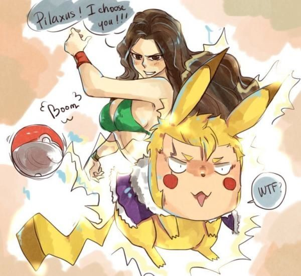 Laxus from Fairy Tail as Pikachu xD