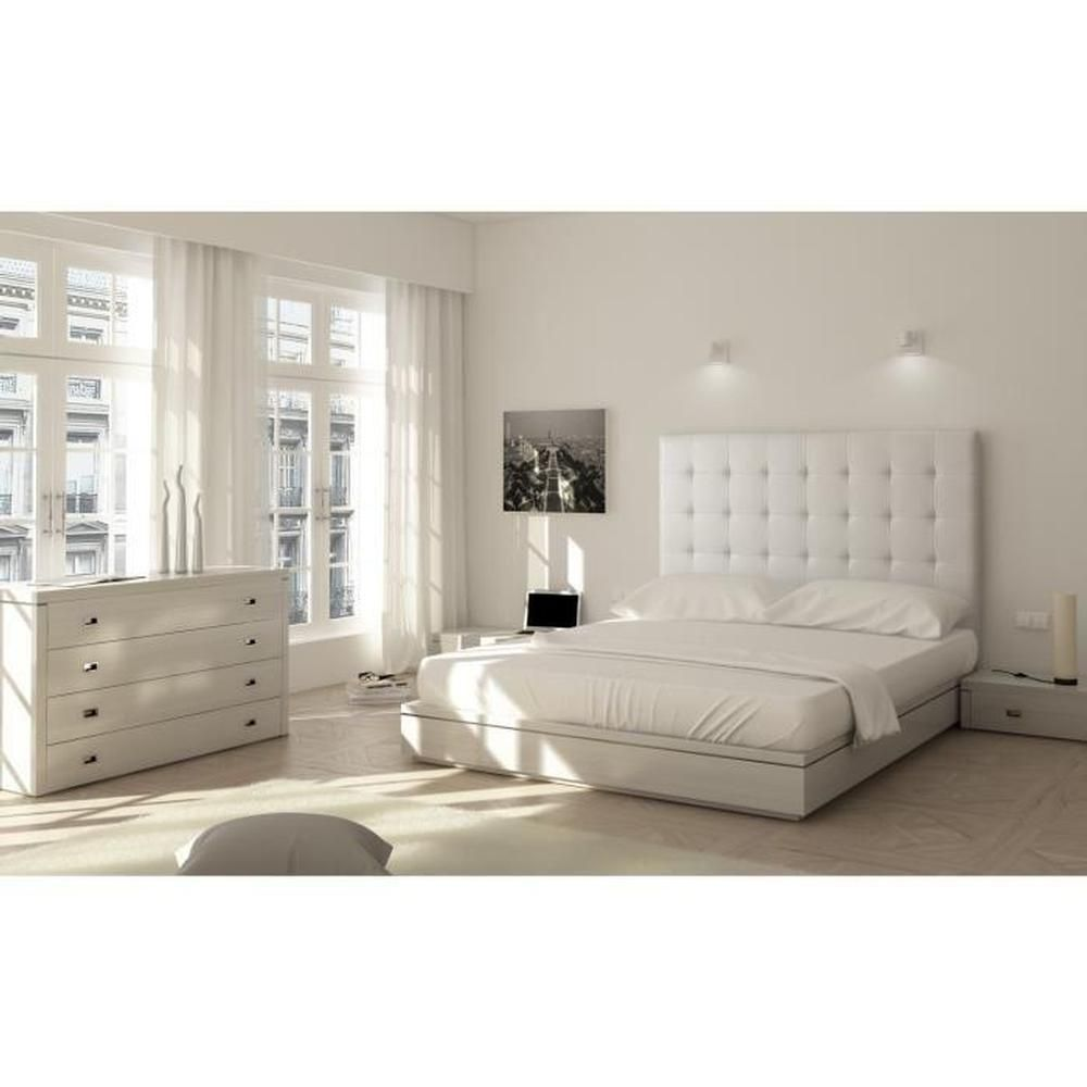 tdl140blancpu sogno t te de lit capitonn e 140 cm pu. Black Bedroom Furniture Sets. Home Design Ideas