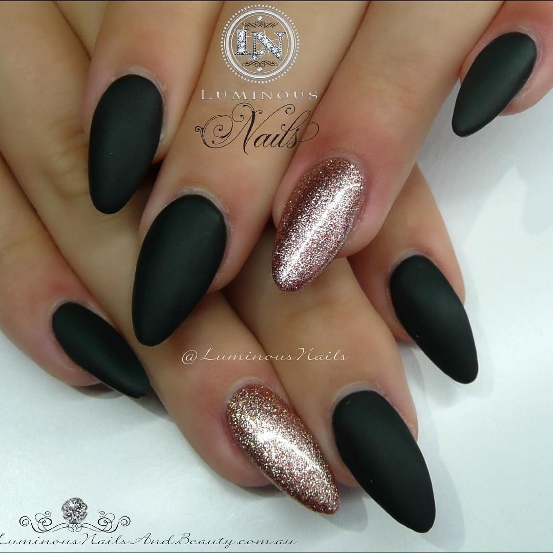Matt Black ♤ & Rose Gold Nails Sculptured Acrylic with ...