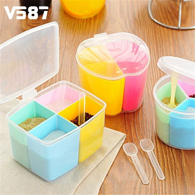Plastic Spice Storage Box Seasoning Cans Jar Pepper Spices Box with Cover Kitchen Tools Storage Pepper Sugar Salt Bottles & Plastic Spice Storage Box Seasoning Cans Jar Pepper Spices Box with ...