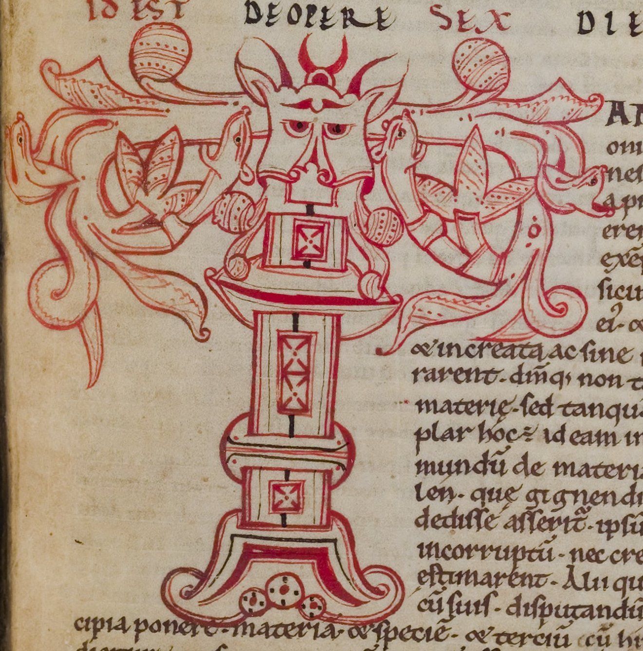 Capital letter t from an illuminated medieval manuscript