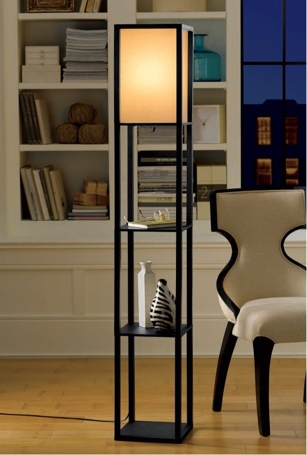 Light Accents 3shelf Floor Lamp 63 Tall Wood With White Linen