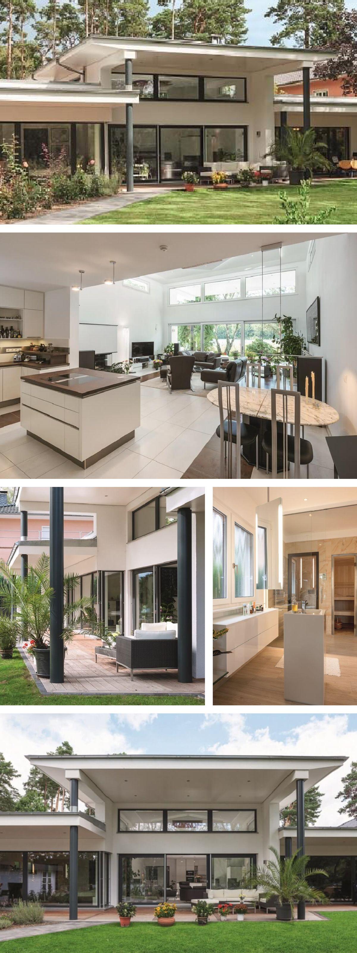 Bungalow Haus modern mit Flachdach Architektur & Kamin