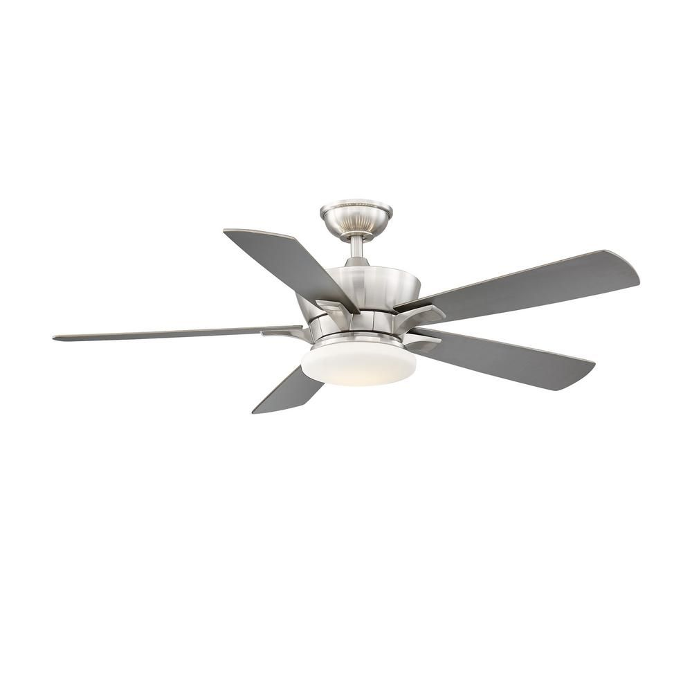 69e6f167d64 Home Decorators Collection Bergen 52 in. LED Uplight Brushed Nickel Ceiling  Fan With Light and Remote Control