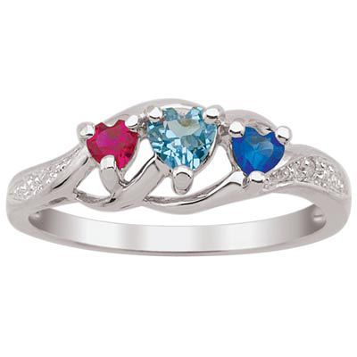Zales Mothers Simulated Birthstone Triple Heart Ring in Sterling Silver (3 Stones) cbwu2