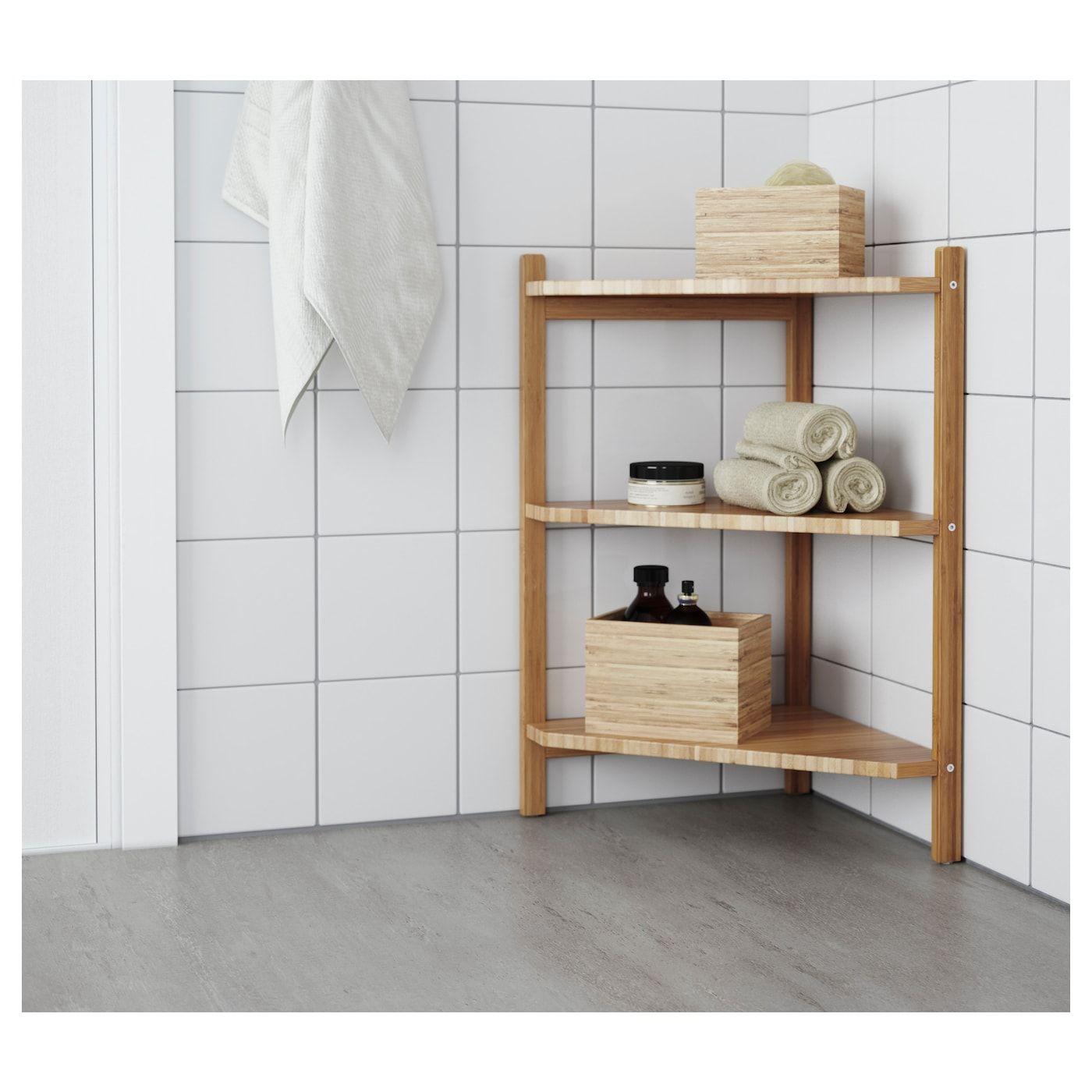 Ragrund Wastafel Hoekrek Bamboe 34x60 Cm Ikea In 2020 Badezimmer Regal Schmal Eckregal Eckregal Bambus