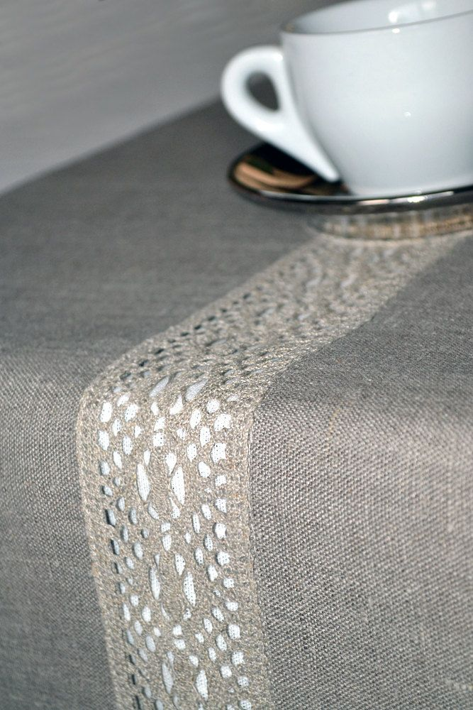 Lacey Natural Organic Linen Gray Table Runner 16 x 90 inches