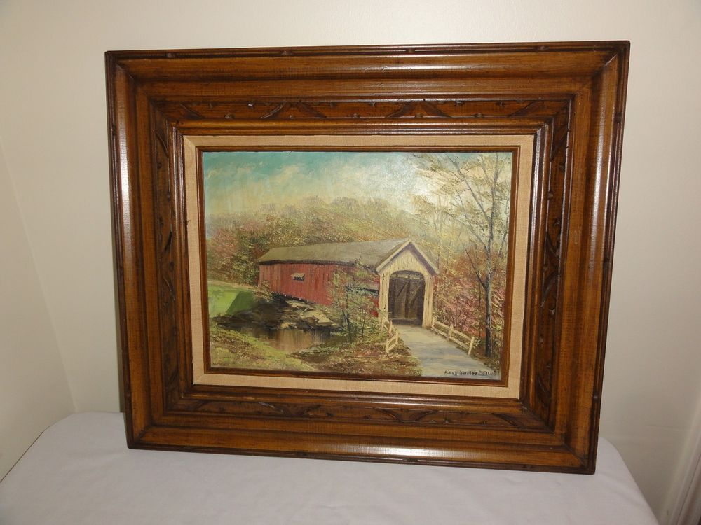 Original Firma Duchene Phillips Oil Painting Measures 12 X 16 With Frame Measures Approx 22 X 26 An Ori Painting Covered Bridge Painting Art Painting