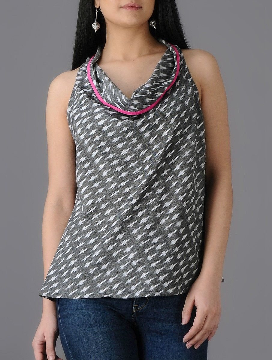 Buy Grey Ivory Cowl Neck Ikat Cotton Top Women Tops A New Spin on ...