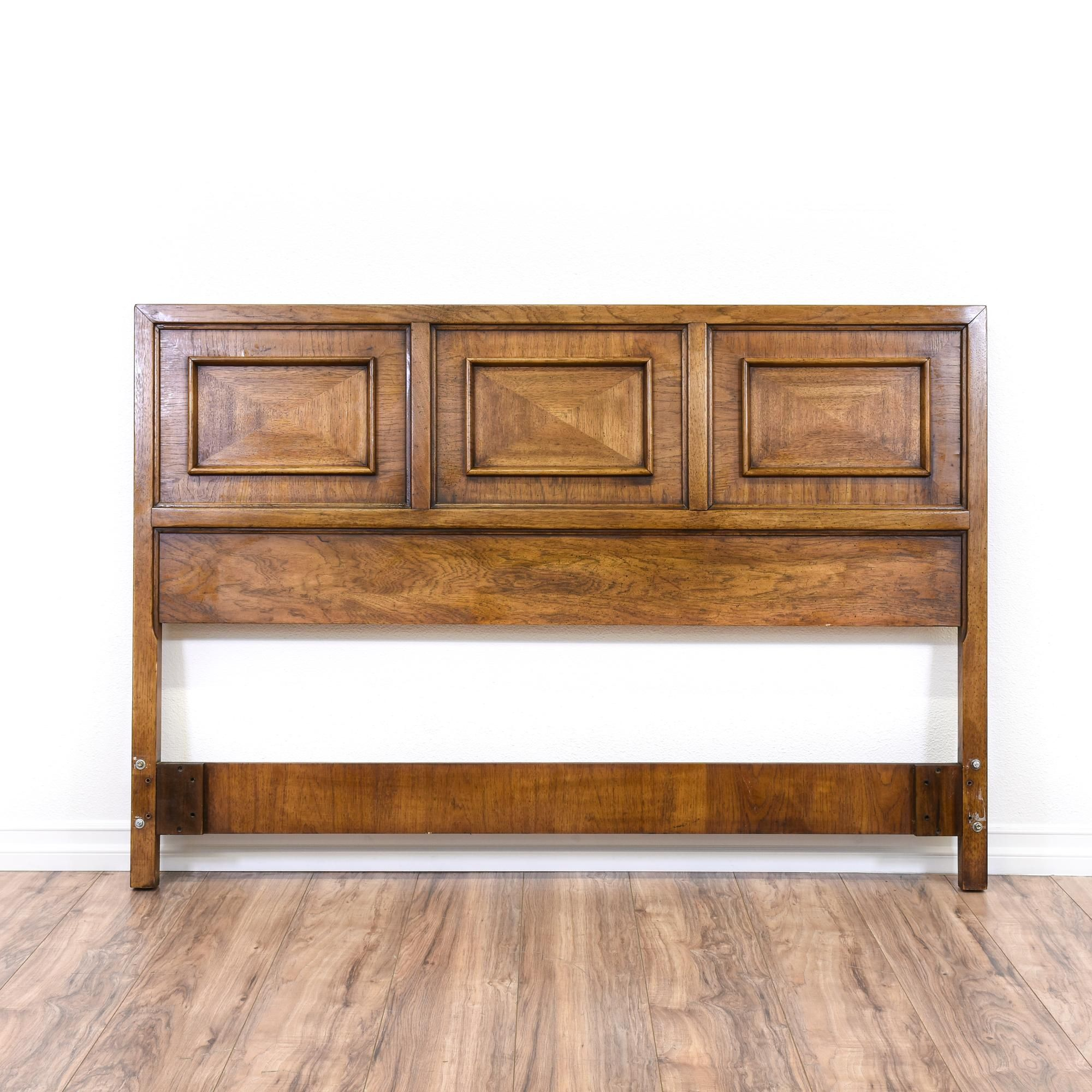 This Mid Century Modern Queen Sized Headboard Has Carved Trim,
