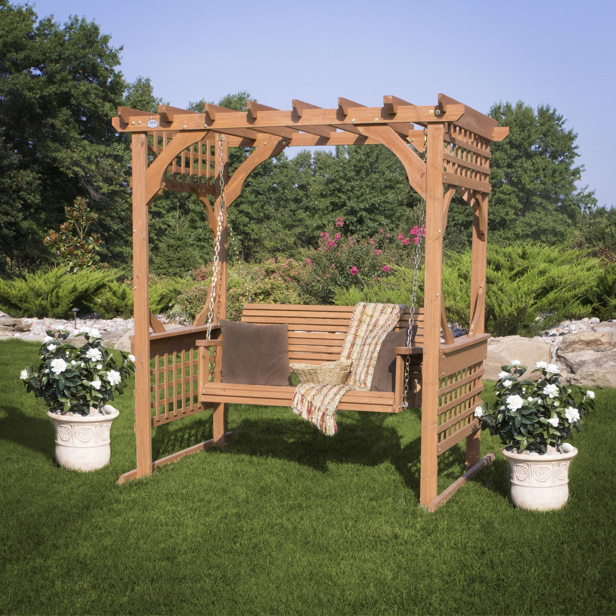 cedar pergola swing front yard between the two oaks. Black Bedroom Furniture Sets. Home Design Ideas