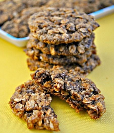 Heart Healthy Walnut Oat Cookies-dairy and gluten free.  Sean and I like these! Used olive oil instead of canola. No water or brown sugar. used 1/2 c. brown rice syrup and 1/2 c. agave instead. used g.f. oats if that's a concern and dark chocolate for dairy free