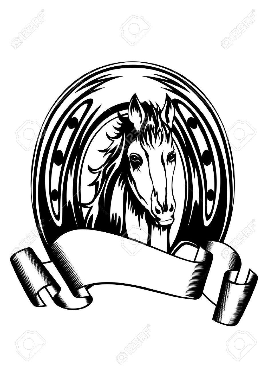 Ilustração Do Vetor Da Cabeça De Cavalo Em Ferradura Royalty Free ...