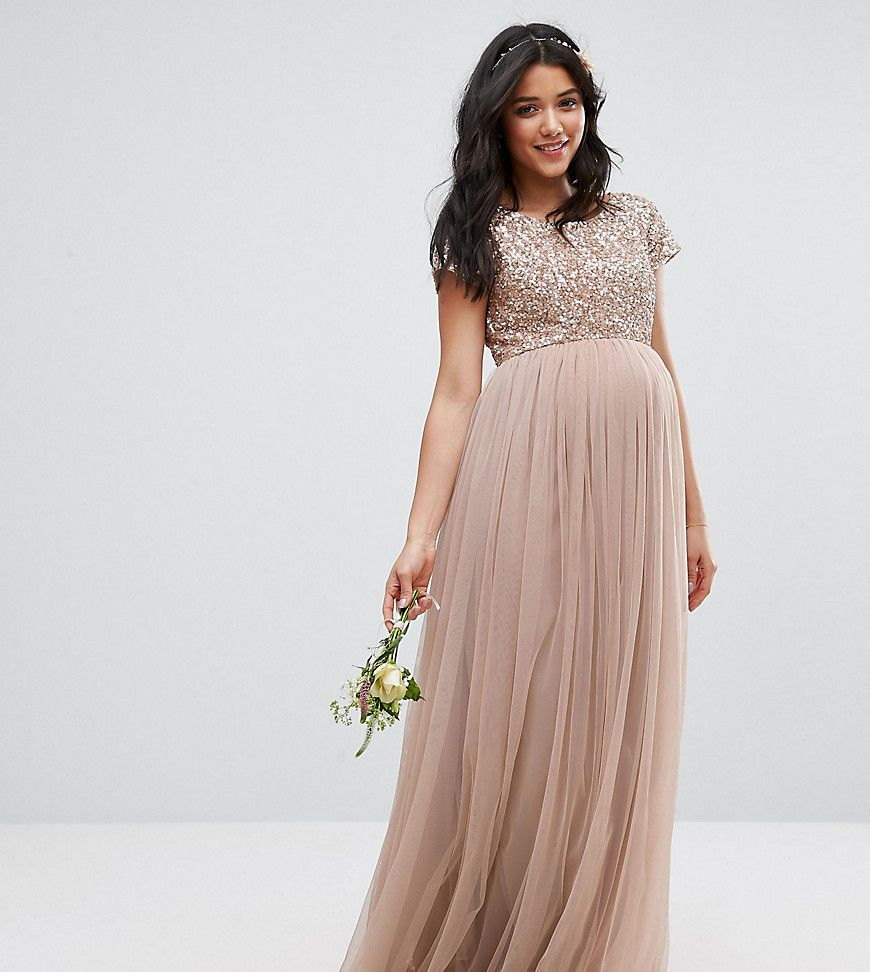 Maternity dresses for weddings  Maya Maternity Maxi Dress With Delicate Sequin And Tulle Skirt