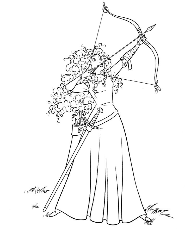 Merida Directing Bow Arrow Coloring Pages printable coloring