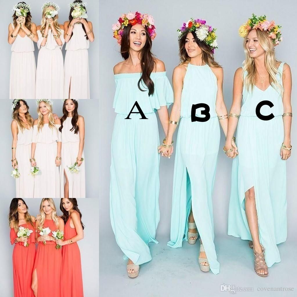2017 Cheap Bohemian Mint Green Bridesmaid Dresses for Beach Wedding ...