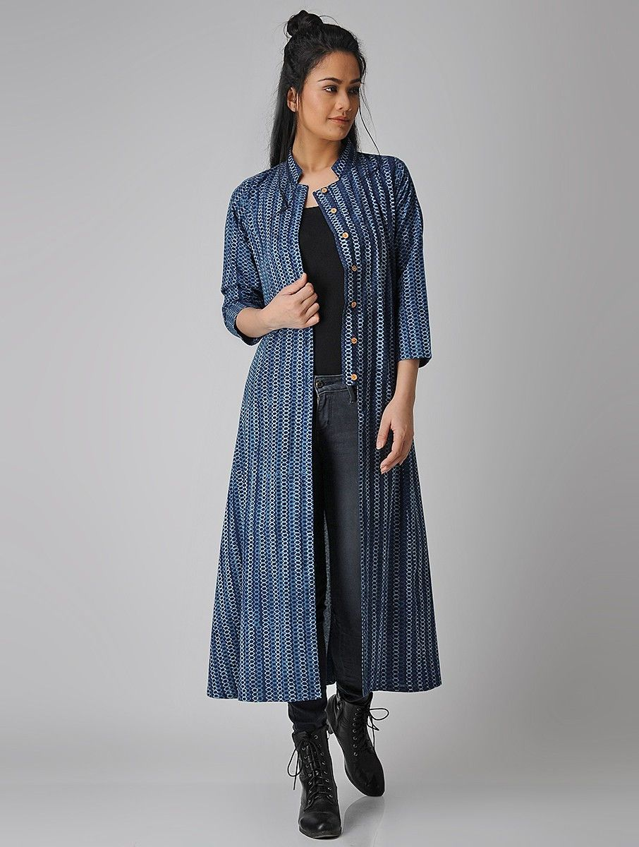 ef9f55aa2d3 Buy Indigo Dabu printed Cotton Jacket Kurta Women Kurtas Online at  Jaypore.com