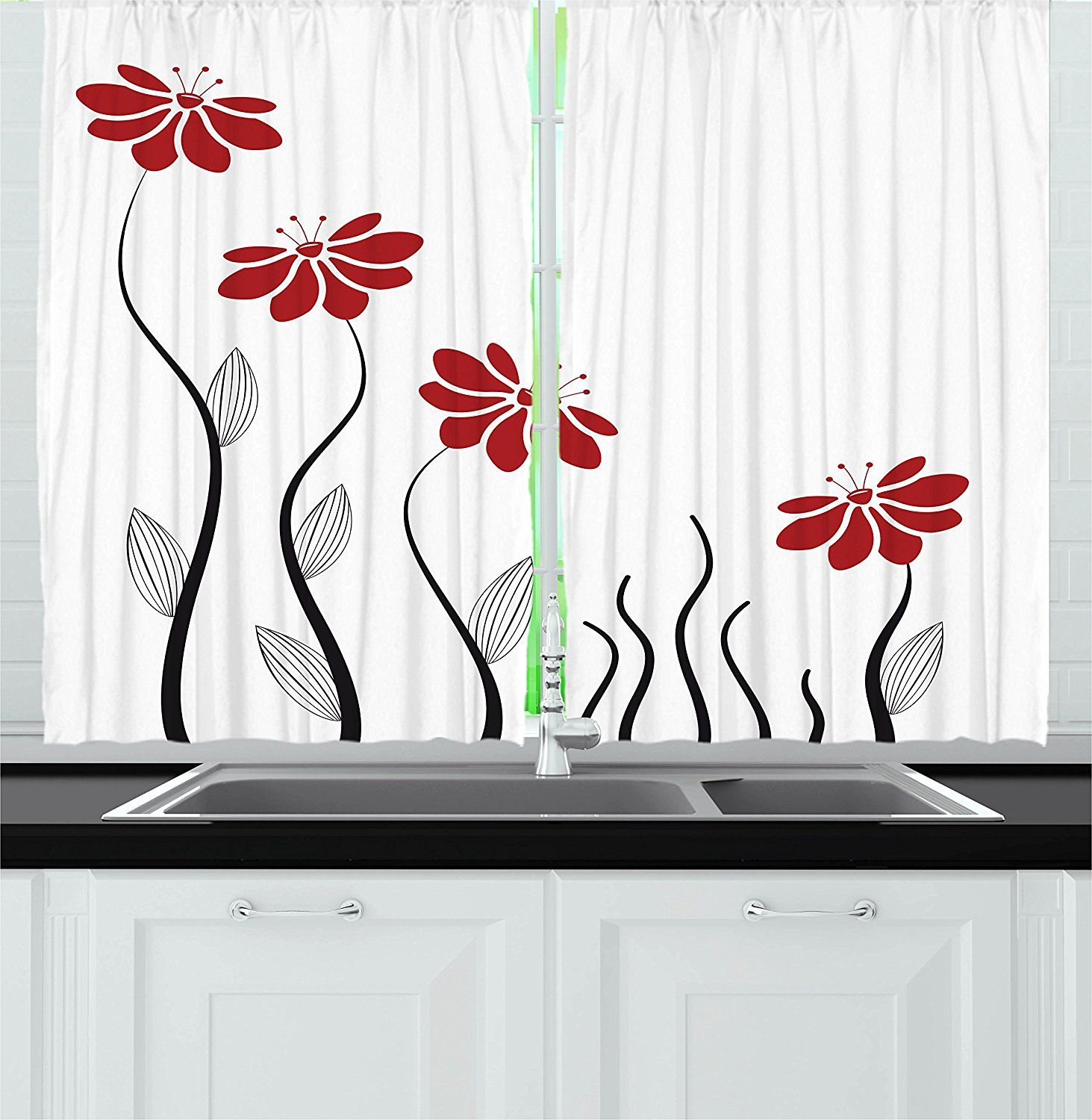 Flower Decor Kitchen Curtains By Ambesonne Floral Petals With Striped Leaves And Lines Modern Geometric De Kitchen Curtains Curtain Decor Curtains