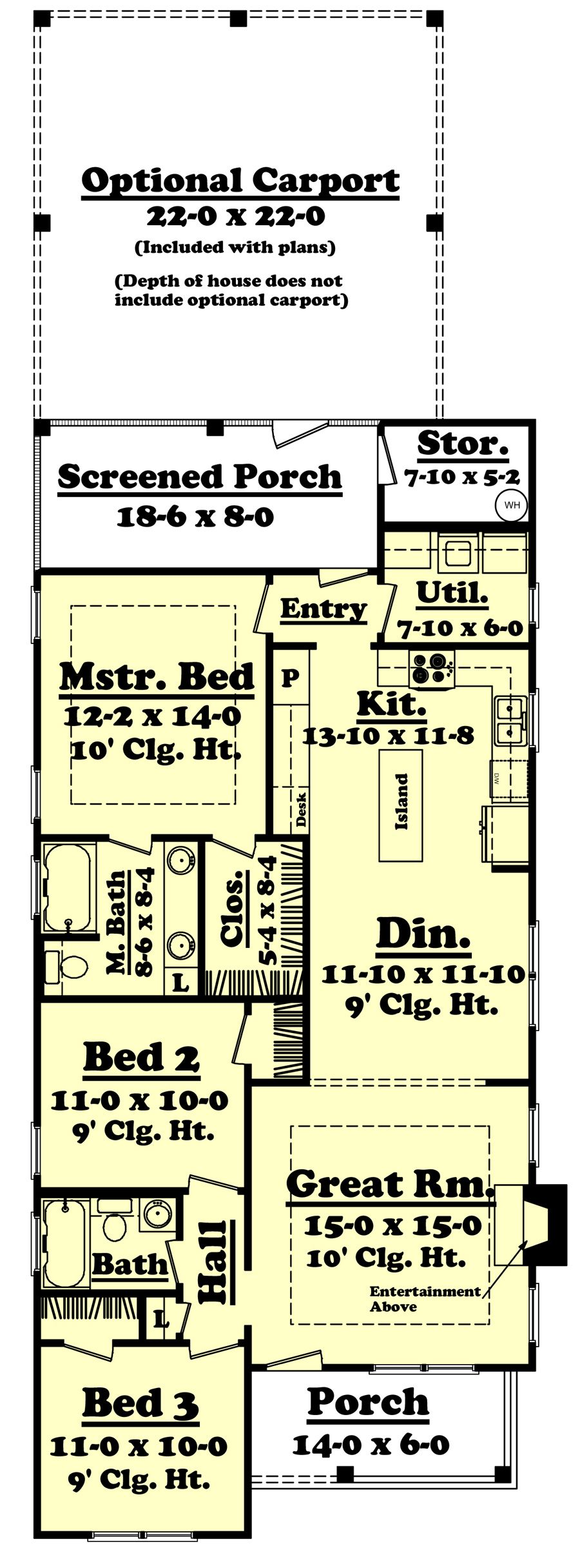 Narrow Craftsman House Plan With Front Porch 3 Bedroom Cottage Style House Plans How To Plan House Floor Plans