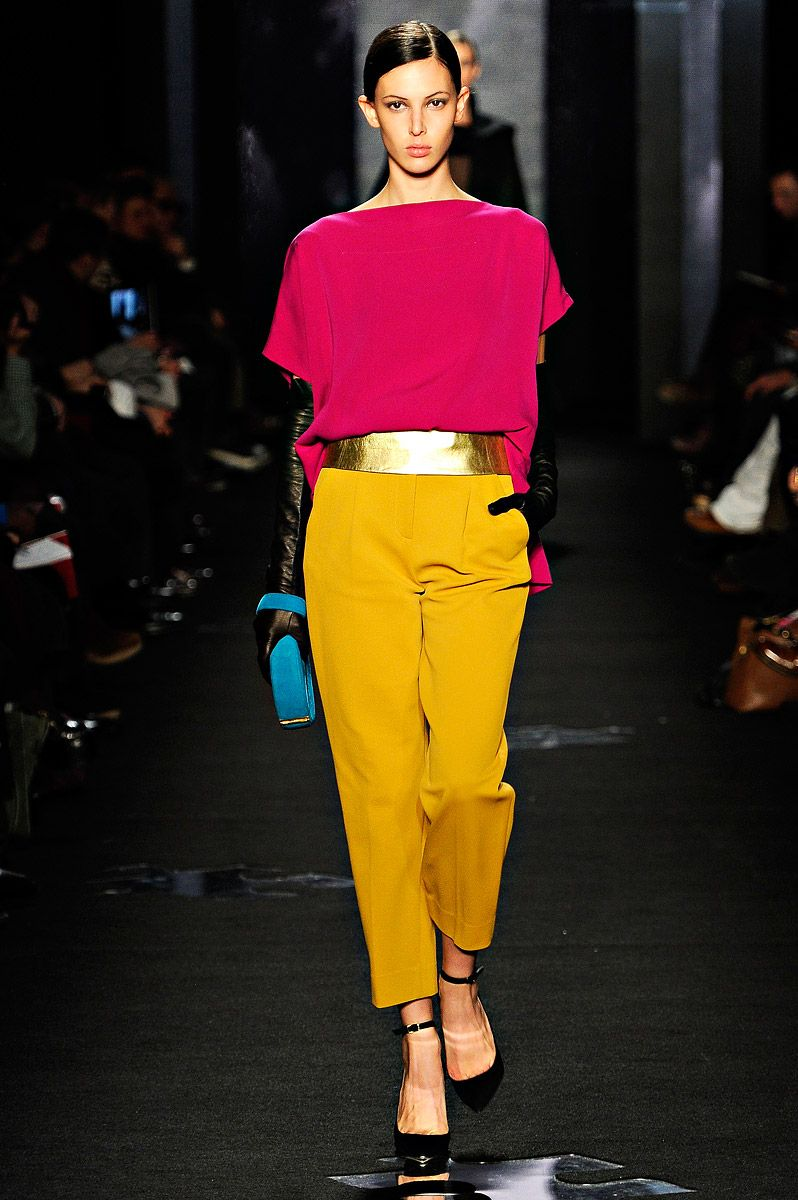 DVF Fall 2012.  Again with the color blocking swoon.  Worth considering: I can't wear that yellow up top, but could I pull it off as pants provided my top was much more suiting to my face?