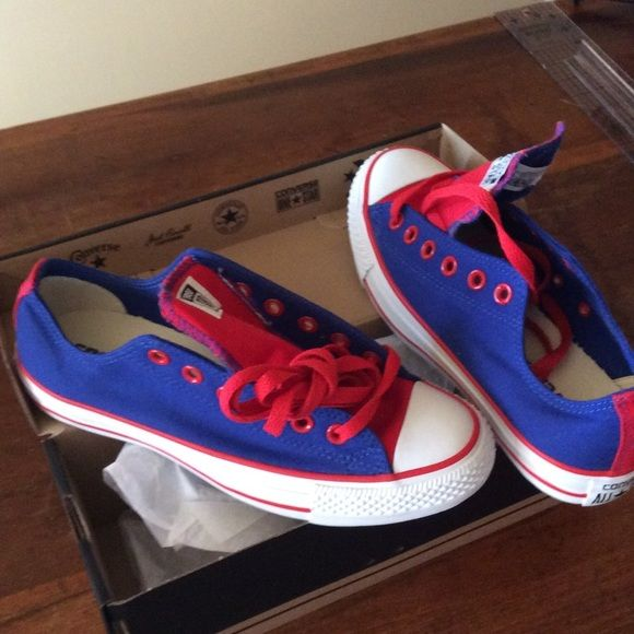 a1cc38a9a554 Converse Chucks red and blue for Kansas University Ordered for KU colors  converse chucks red and blue Converse Shoes Athletic Shoes