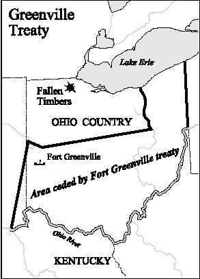 Map of Ohio Country showing the land ceded by Native