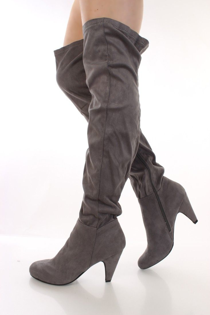 Grey Faux Suede Thigh High Boots | High boots, Grey and Thigh highs