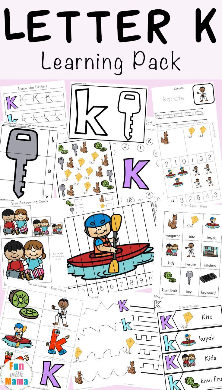 Free Printable Letter K Activities, Worksheets, Crafts And Learning Pack.  Worksheets For Homeschooling