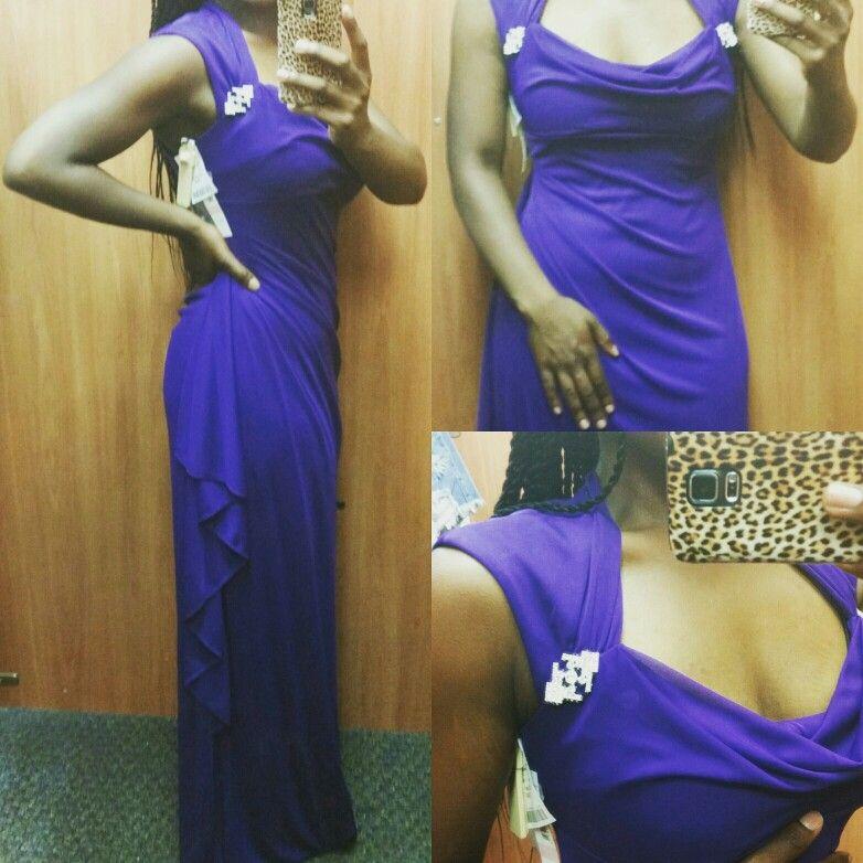 #RetailTherapy  #PurpleIsARegalColor  #GownsFromBurlington #BeautifulRhinestoneDetail #ruchingDress #LovlySideView #LoveThisDress #LowCutNeckLine #ChocolateLife #Chic #Trendy #Modern #YAAAAASSS