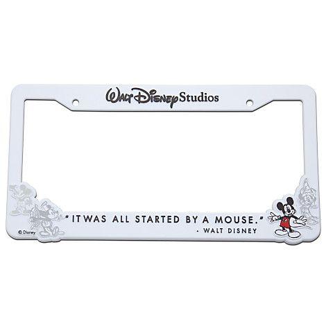 Walt Disney Studios Mickey Mouse License Plate Frame -- White | Car ...