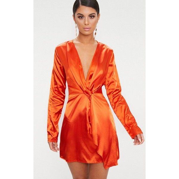 b01f45d213b Orange Satin Wrap Dress ( 31) ❤ liked on Polyvore featuring dresses ...