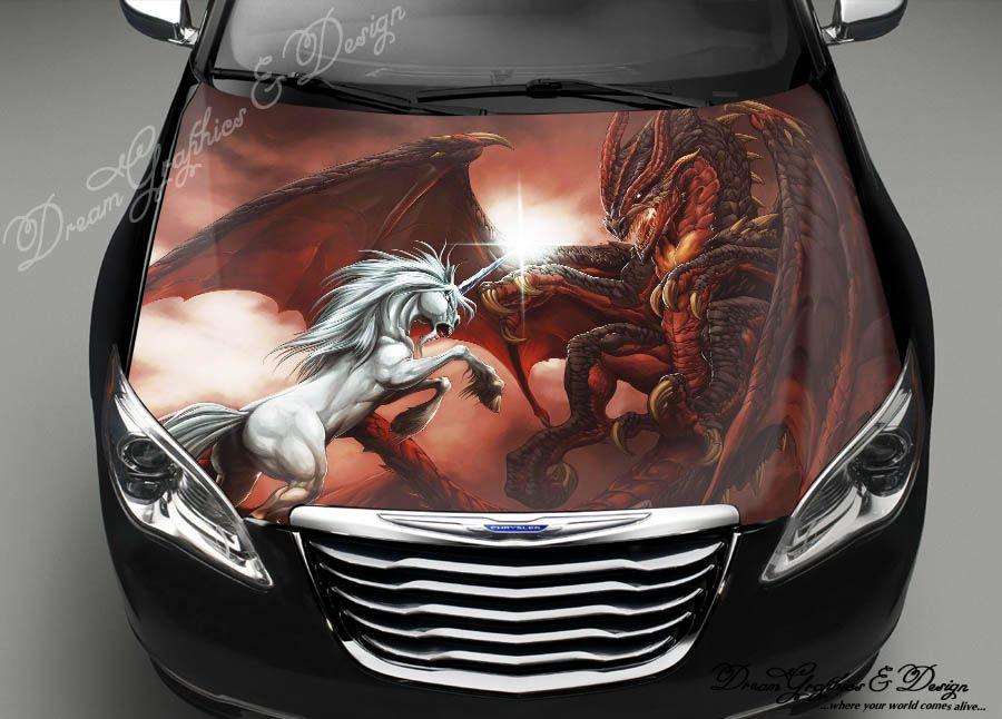 Hood Wrap Full Color Print Vinyl Decal Fit Any Car Dragon Vs - Car sticker designimpressive wrap decal design for car car design