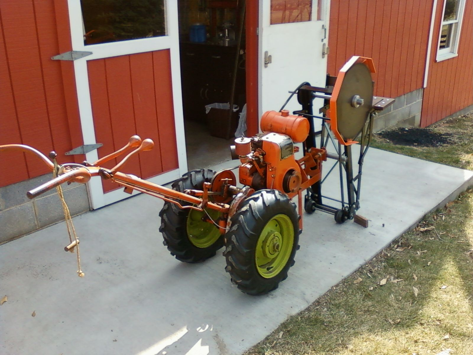 Show home build gas powered mini tractors - Montgomery Garden Tractor With Cut Off Saw