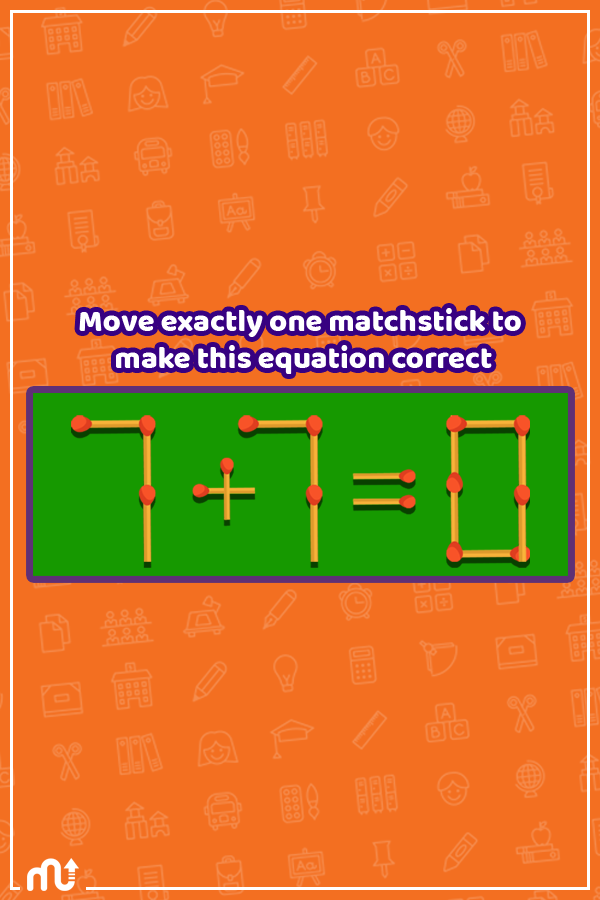 Move exactly one matchstick to make this equation correct