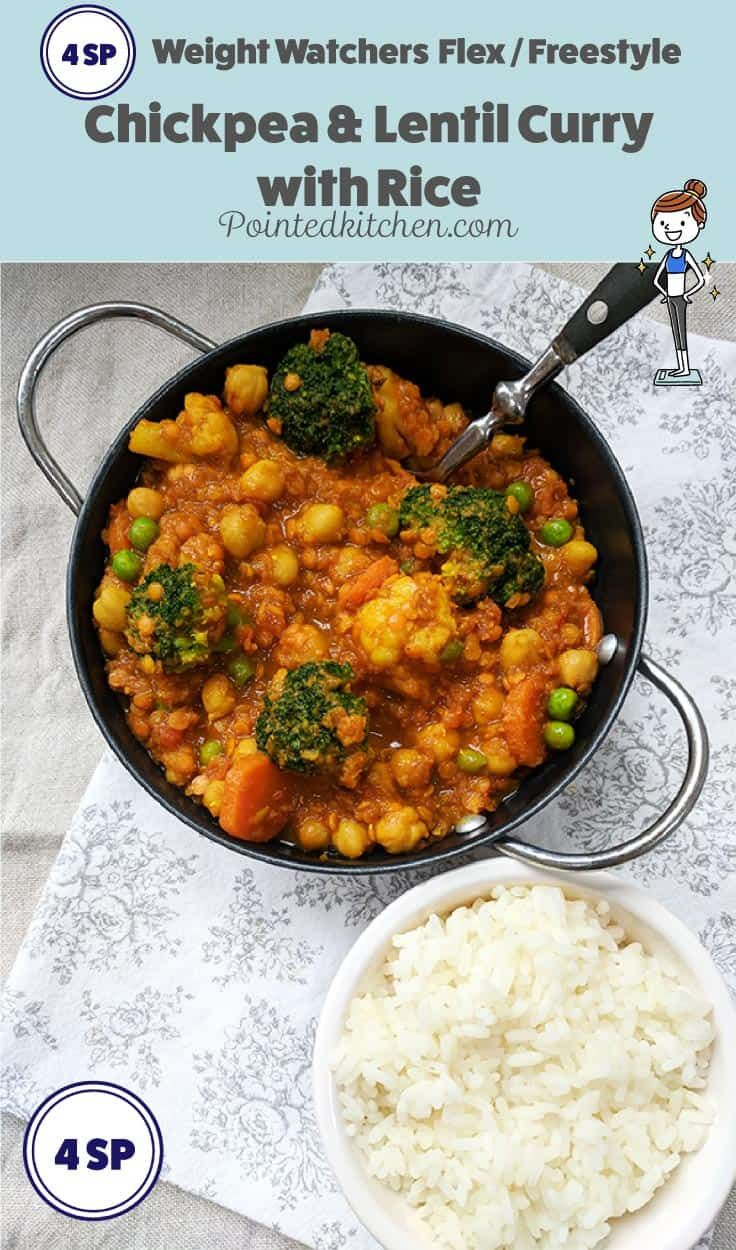 This tasty chickpea and lentil curry served with a portion of rice is just 4 smart Points on Weight Watchers Flex / Freestyle plan |