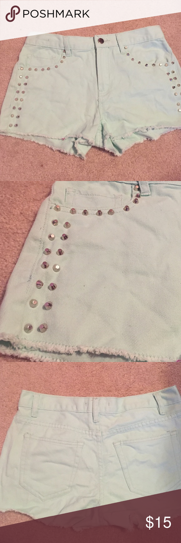SALE Forever 21 Mint Studded Cutoff Denim Shorts Forever 21 mint denim shorts with silver studs on the side, size 26, only tried on Forever 21 Shorts Jean Shorts