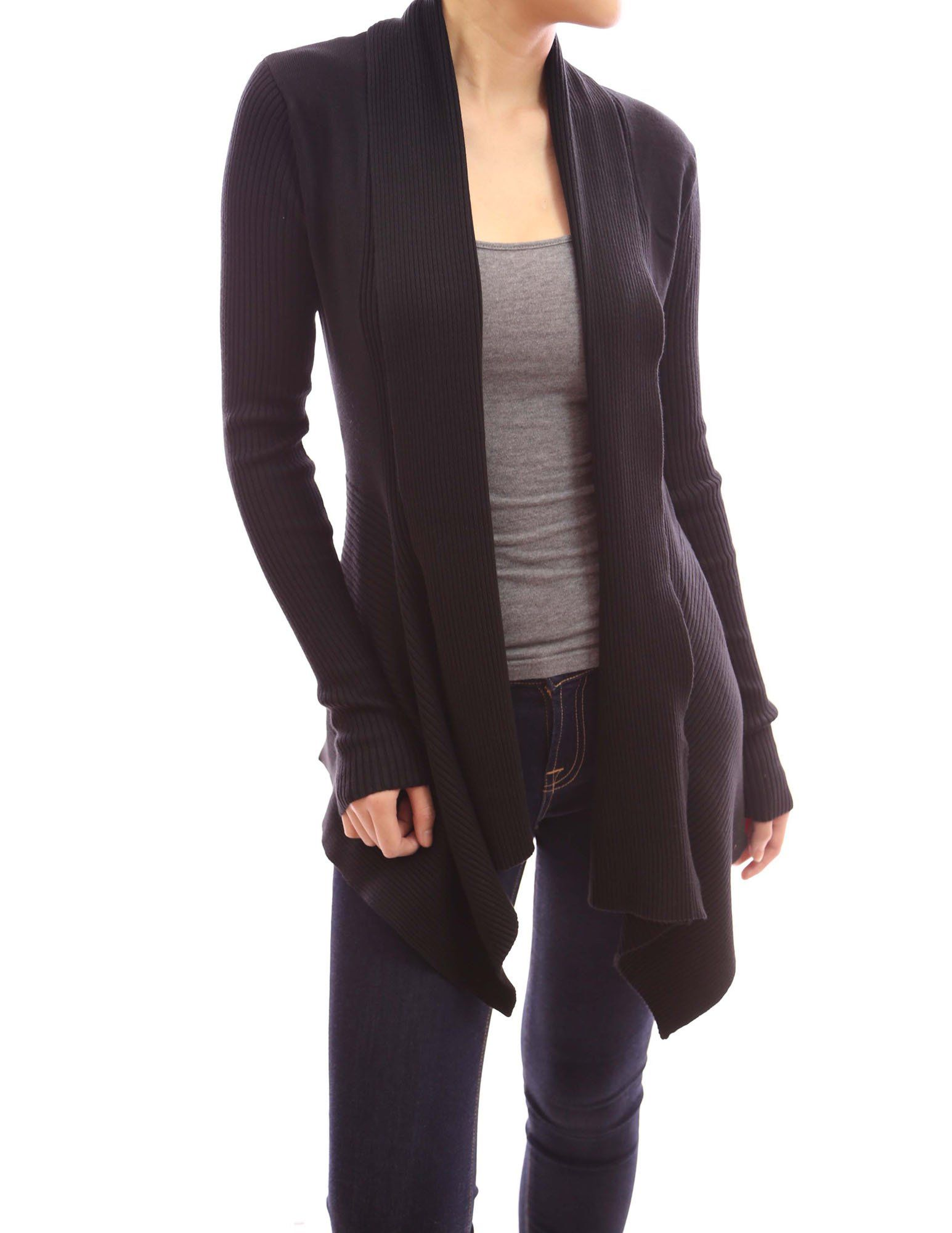 PattyBoutik Ribbed Cascading Asym Hem Open Sweater Cardigan at Amazon Women s  Clothing store  Patty Boutique d3516ecf9