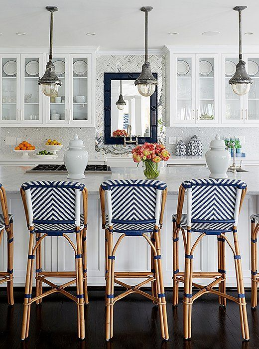 Kitchen Counter Stools Small Remodel Cost 3 High Impact Updates To Make Now For The Newlywed Home Blue And White Striped Are Such A Fun Easy Way Update Your