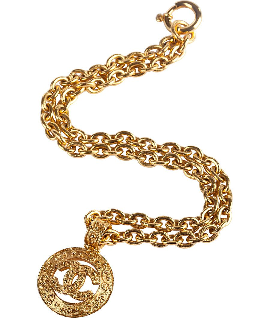 8742b4a3b284 vintage chanel jewelry from 80's and 90's | CHANEL VINTAGE JEWELRY Golden  Chanel-Pendant Necklace