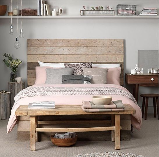 High Quality Reclaimed Wood Bed Frame And Headboard With Dusky Pink Sheets