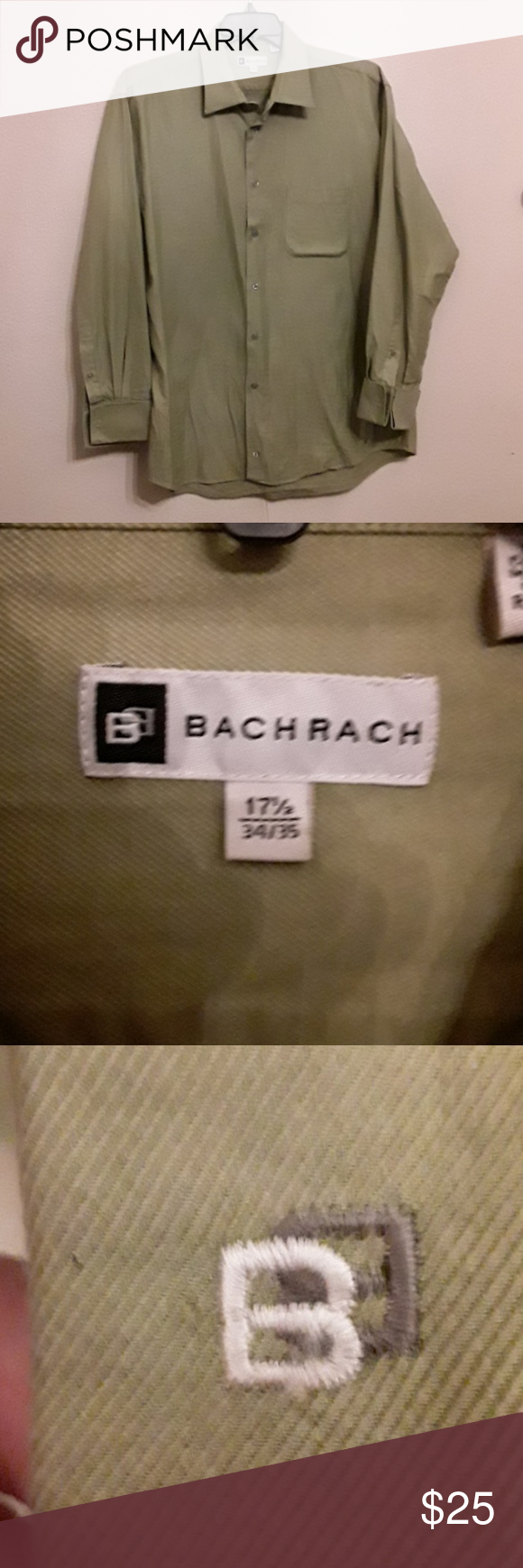 Bachrach sage green dress shirt, 17.5 Cotton,  like new, sage green. This shirt requires cuff links!!!   B07 Bachrach Shirts Dress Shirts #sagegreendress