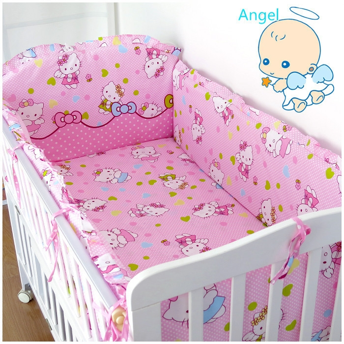 43.08$  Watch here - http://aligf0.worldwells.pw/go.php?t=32278772320 - 6Pcs Hello Kitty cot bumper set baby cot bumper Baby Bedding Set baby crib bumper baby bumper sets (bumper+sheet+pillow cover)