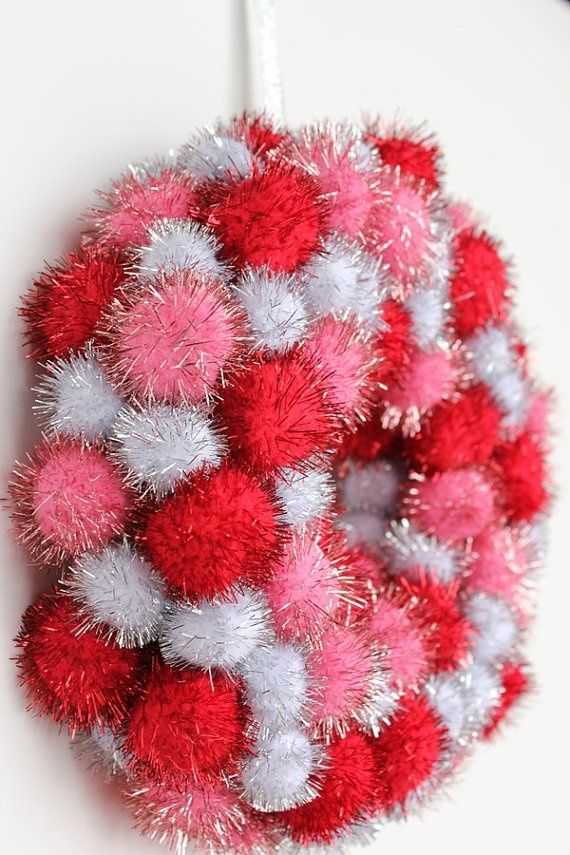 such a cute valentines day wreath idea by BGM Inspiration | Pom Poms |  Pinterest | Wreaths and Craft