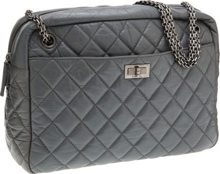 843919261a55 Chanel Slate Quilted Lambskin Leather Oversize Camera Bag with Gunmetal  Hardware