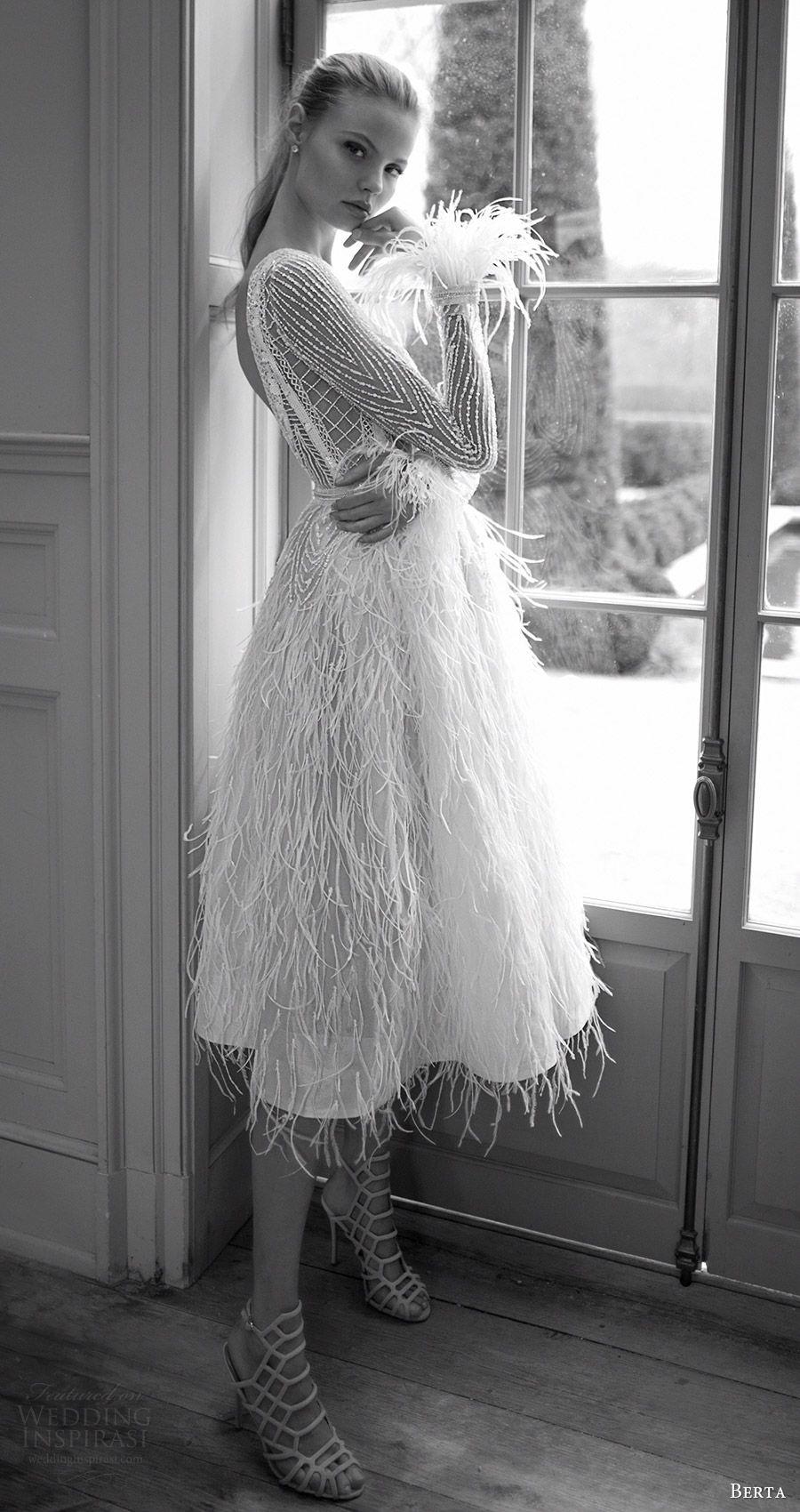 Short white dresses for wedding reception  Berta bridal  Sleeve Long sleeve and Neckline