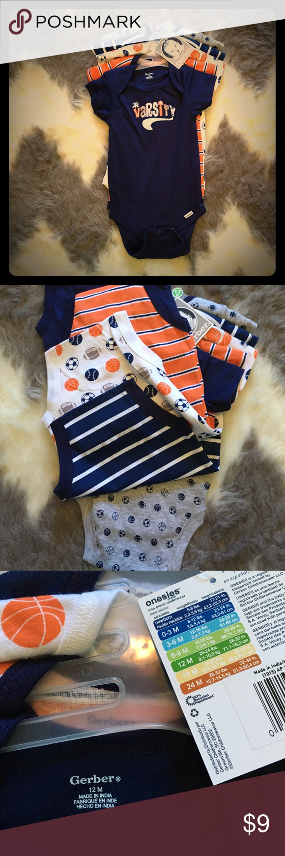 Onesies NWT, size 12 months, 5 pack of sport themed onesies. Gerber One Pieces