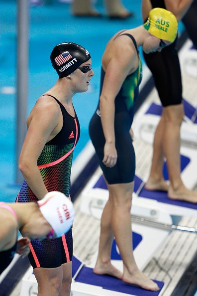 #RIO2016 Allison Schmitt of the United States competes in the Women's 4 x 200m Freestyle Relay Final on Day 5 of the Rio 2016 Olympic Games at the Olympic...
