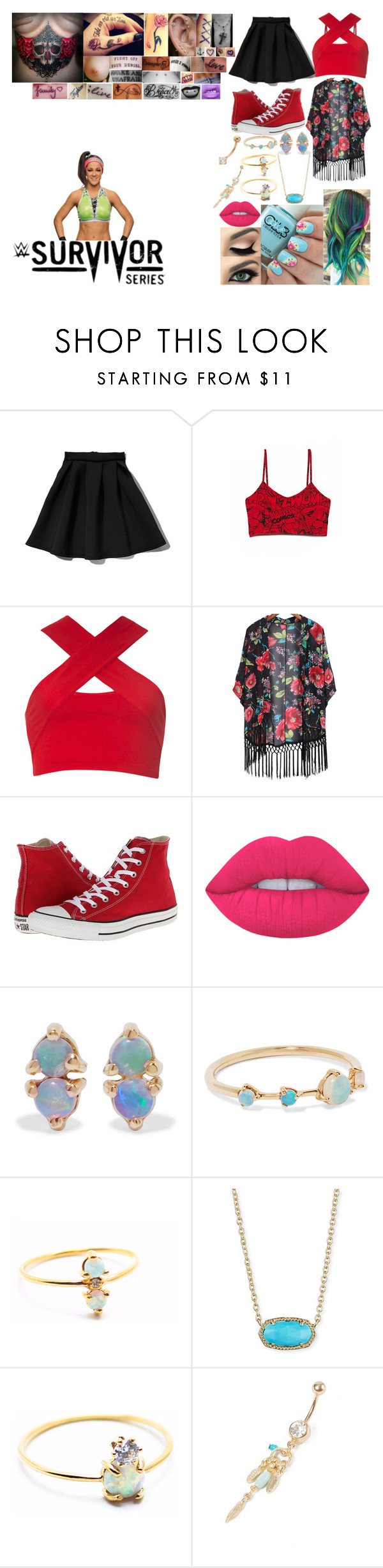 """Walking Bayley out to her match at Survivor Series"" by belabmilagres ❤ liked on Polyvore featuring WWE, Abercrombie & Fitch, Forever 21, Motel, Converse, Lime Crime, WWAKE, La Kaiser, Kendra Scott and Disney"