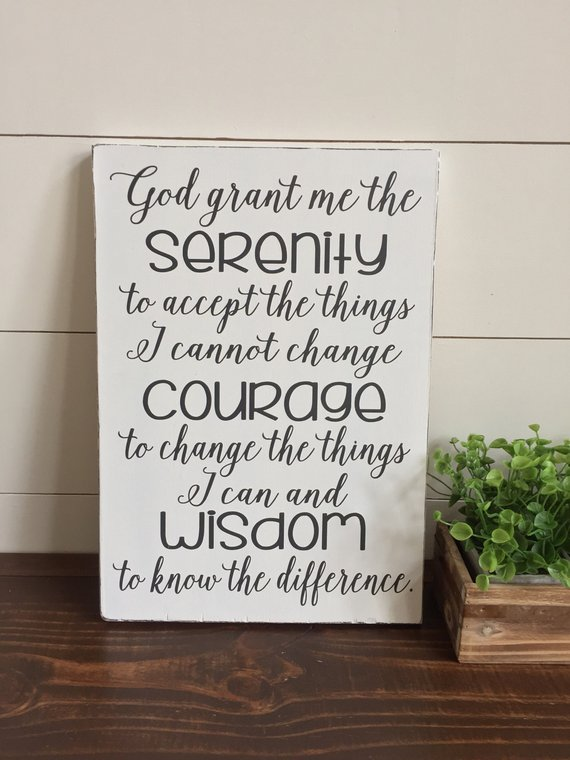 Serenity Prayer Wood Sign, God Grant Me the Serenity, Christian Wall Art,  Farmhouse Decor, Shiplap,