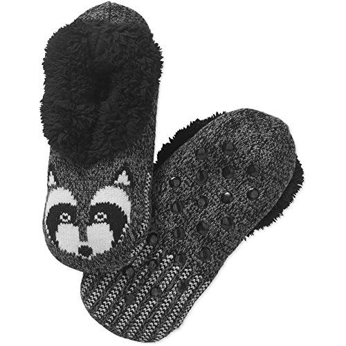 e6371822a3fd Womens Critter Faux Fur Slipper Socks Furry Socks Grey Raccoon     Continue  to the product at the image link.